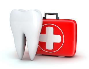 A tooth next to a first aid kit | Emergency Dentistry Hartford CT